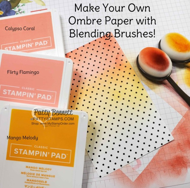 How to use Blending Brushes with Stampin' UP! True Love designer paper to create a soft ombre effect for cards, by Patty Bennett www.PattyStamps.com