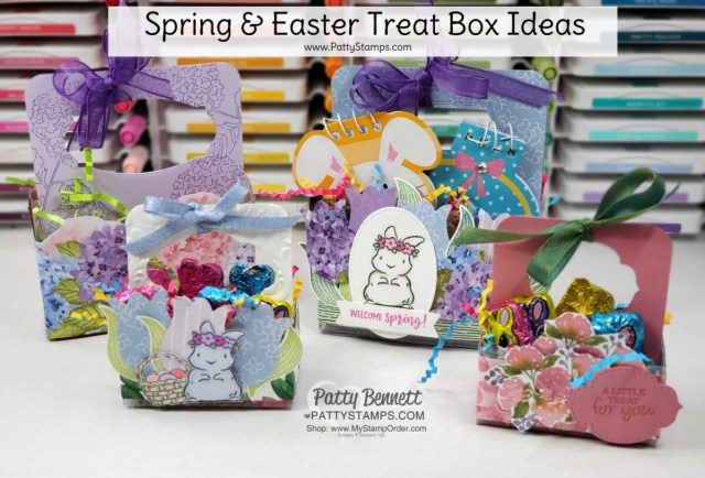 How to make cute Easter and spring treat boxes using Stampin' UP! Acetate Boxes and Springtime Joy stamp set. www.PattyStamps.com
