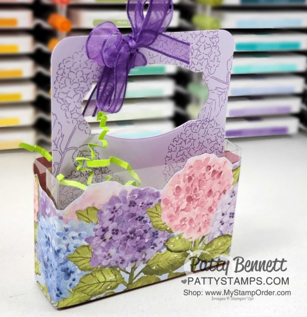 Acetate Card Box treat idea for spring or Easter featuring the Stampin' UP! Hydrangea Hill designer paper, by Patty Bennett