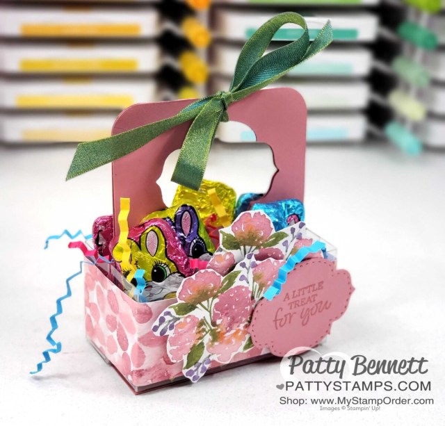 3x3 Acetate Box treat idea for spring or Easter featuring the Hydrangea Hill designer paper, by Patty Bennett
