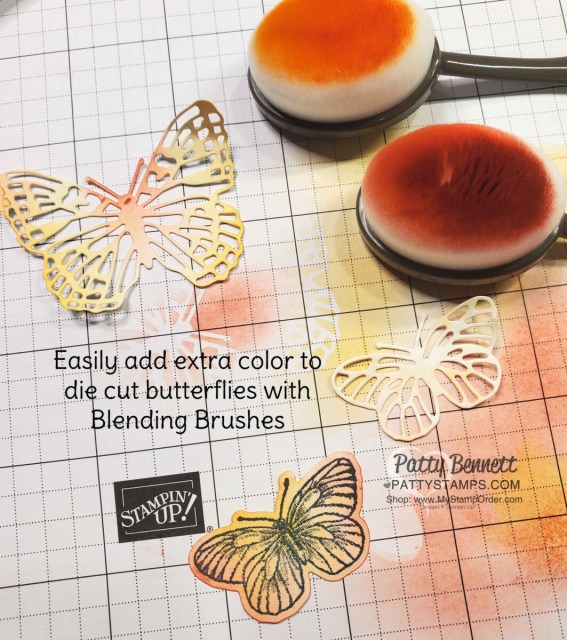 Add extra color to die cut butterflies using Blending Brushes.  Brilliant Wings butterfly dies available online. www.PattyStamps.com