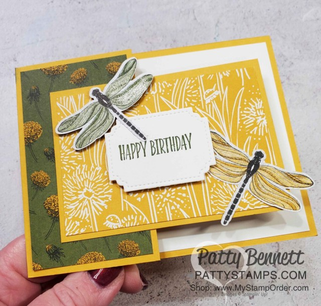 Birthday Card Idea: Dandy Garden Fun Fold card featuring Stampin' Up! Dragonflies punch and Dandy Garden 6x6 paper stack by Patty Bennett www.PattyStamps.com