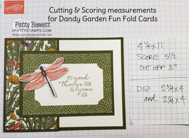 Cutting and Scoring dimensions / measurements for Dandy Garden Fun Fold card featuring Stampin' Up! Dragonflies punch and Dandy Garden 6x6 paper stack by Patty Bennett www.PattyStamps.com