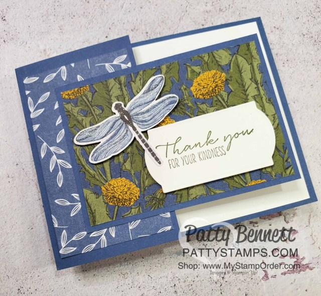 Thank You Card idea: Dandy Garden Fun Fold card featuring Stampin' Up! Dragonflies punch and Dandy Garden 6x6 paper stack by Patty Bennett www.PattyStamps.com