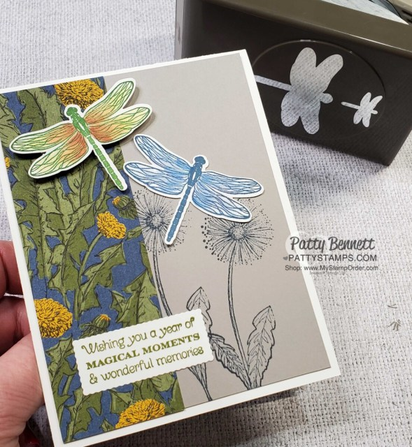 Dragonfly card idea featuring Stampin' Up! Dandy Garden suite, Dragonflies punch,  by Patty Bennett