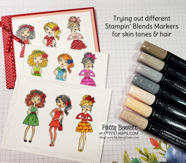 Experimenting with Skin Tone colors and Stampin' Blends markers on the Hey Girl stamp set. www.PattyStamps.com