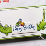 Oh Snap alligator birthday card featuring Hey Birthday Chick cupcakes. Stampin