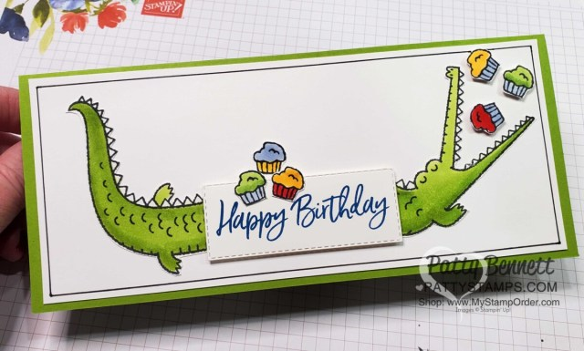Oh Snap alligator birthday card featuring Hey Birthday Chick cupcakes. Stampin' Blends coloring by Patty Bennett