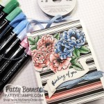 Coloring on True Love designer paper with Stampin