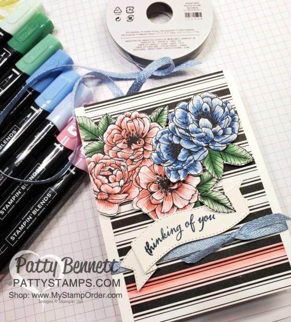 Coloring on True Love designer paper with Stampin' Blends markers, to create a Thinking of You card. Stampin' UP! card making supplies. Cards by Patty Bennett