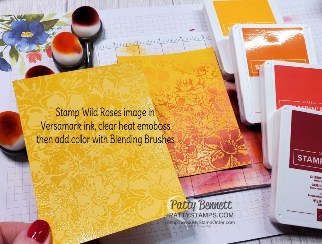 Use the Emboss Resist technique to create card backgrounds with the Wild Rose stamp, Versamark ink and Blending Brushes. by Patty Bennett