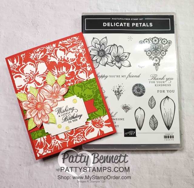 Wild Roses stamped background card idea featuring the Delicate Petals stamp set in Poppy Parade ink. Stampin Up Card Making supplies www.PattyStamps.com