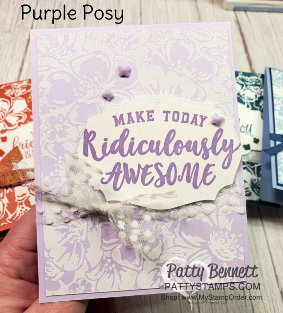 Retiring Stampin' Up! 2019-2021 In Colors. Wild Roses background stamp card by Patty Bennett. Emboss Wild Rose stamp in White embossing powder on Purple Posy Cardstock. www.PattyStamps.com