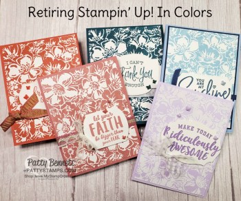 Retiring Stampin UP! In Color Cards with Wild Roses background stamp