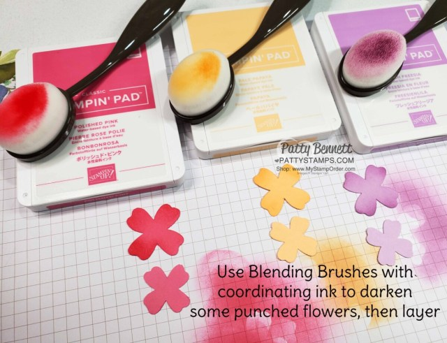 Shading idea for Flowers & Leaves punch with Blending Brushes and 2021-2023 Stampin' Up! In Colors by Patty Bennett www.PattyStamps.com