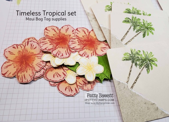 Bag Tags for Luv 2 Stamp Group Maui Trip achievers featuring Stampin' Up! Timeless Tropical set, by Patty Bennett
