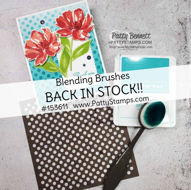 Stampin' Up! Blending Brushes are great for using with masks / stencils and ink pads!  #153611 www.PattyStamps.com