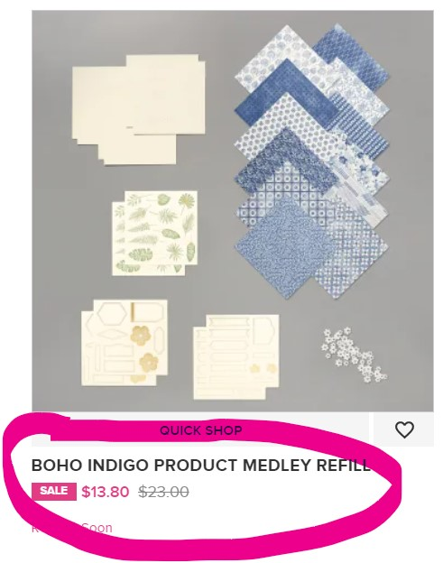 Boho Indigo refill card making kit on sale while supplies last Stampin' Up! pattystamps.com 153925
