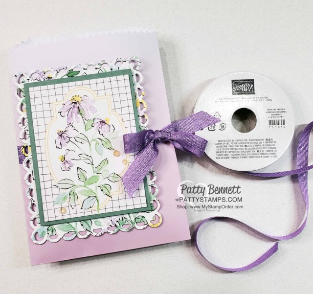 Ombre Gift Bag for Fold out gift card holder featuring Stampin' Up! Hand-Penned Suite, video tutorial by Patty Bennett www.PattyStamps.com