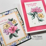 Hand-Penned Petals stamp set stamped with memento black ink and colored with Stampin