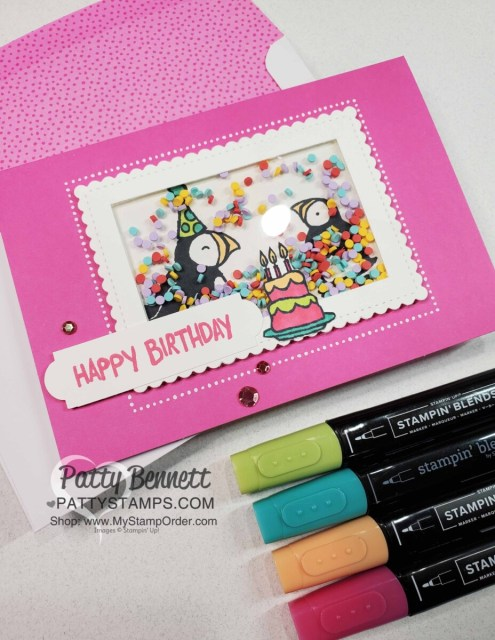 Party Puffins stamp set #155054 from Stampin 'UP!. Shaker card idea by Patty Bennett featuring Treasured Tags punch for the Happy Birthday banner and Stampin Blends marker coloring.