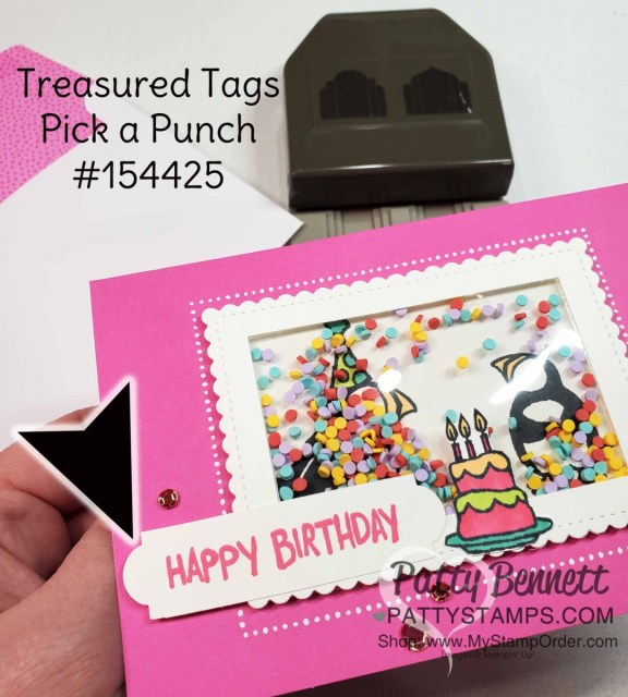 Party Puffins stamp set #155054 from Stampin 'UP!. Shaker card idea by Patty Bennett featuring Treasured Tags punch for the Happy Birthday banner.