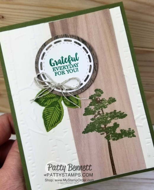 Woodland Embossing folder background with Rooted in Nature stamp set from Stampin' Up! Card Idea by Patty Bennett www.PattyStamps.com