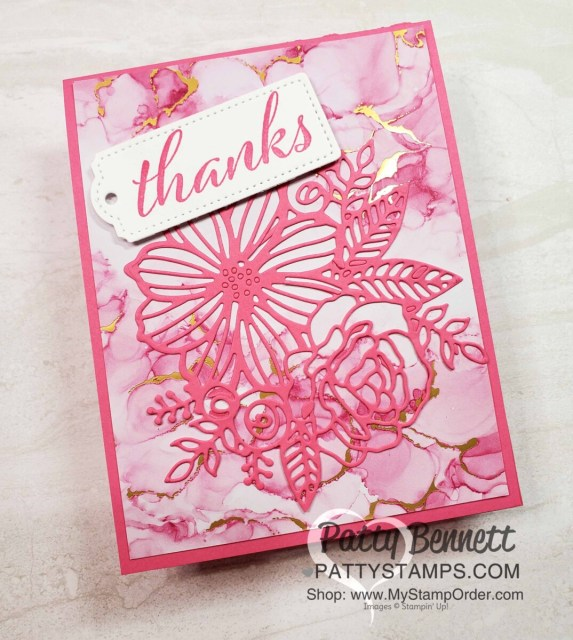 Expressions in Ink Suite from Stampin' UP! for floral cards with die cut flowers and faux alcohol ink backgrounds by Patty Bennett www.PattyStamps.com