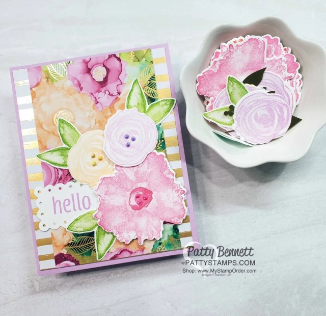 Expressions in Ink Suite from Stampin' UP! for floral cards with die cuts and faux alcohol ink backgrounds, by Patty Bennett www.PattyStamps.com