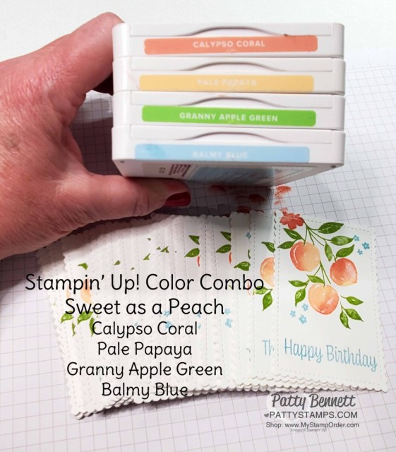 Color combo for Stampin' Up! Sweet as a Peach stamp set by Patty Bennett www.PattyStamps.com