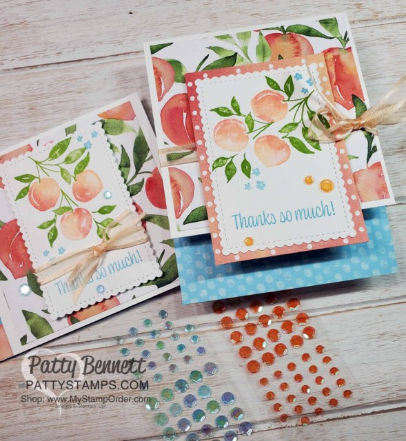 Sweet as a Peach Stampin' Up! card ideas featuring Artistry Blooms sequins by Patty Bennett www.PattyStamps.com