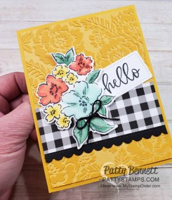 Pattern Party Paper embossed with Pretty Flowers embossing folder