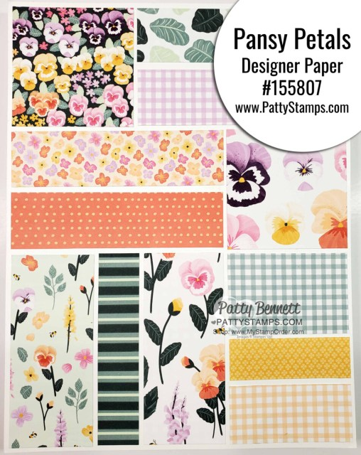 Pansy Petals designer paper from Stampin' UP! #155807 www.PattyStamps.com