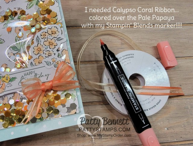 Faux Shaker card featuring Hand-Penned Memories & More cards with Sequins for Everything filler. www.PattyStamps.com Tip: color Pale Papaya Ribbon with Calypso Coral Stampin' Blends marker!