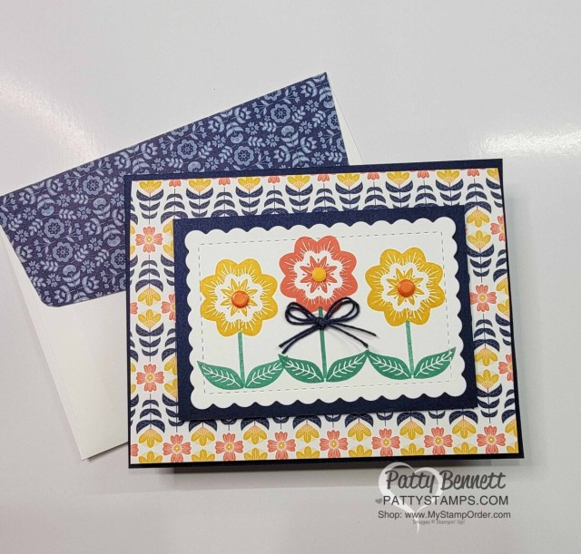 Sweet Symmetry designer paper easy trifold pocket card idea with Patty Bennett