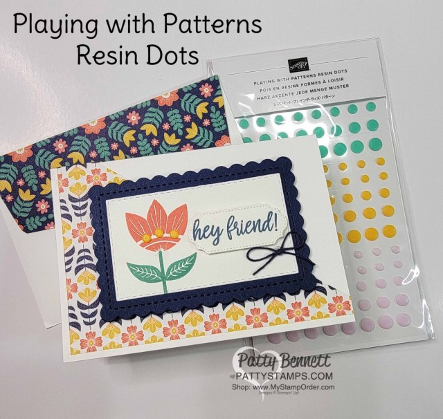 Stampin' UP! Sweet Symmetry designer paper easy note card idea with Playing With Patterns Resin Dots. www.PattyStamps.com