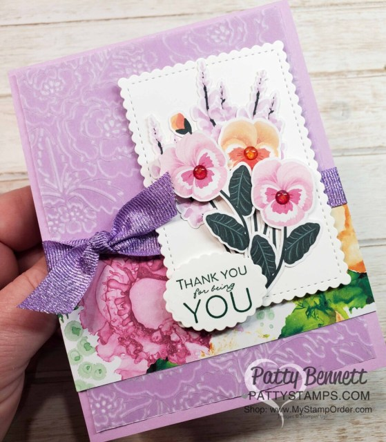 Pansy Petals designer paper from Stampin' Up! with Pretty Flowers embossing folder and Shimmer Vellum card idea. www.PattyStamps.com