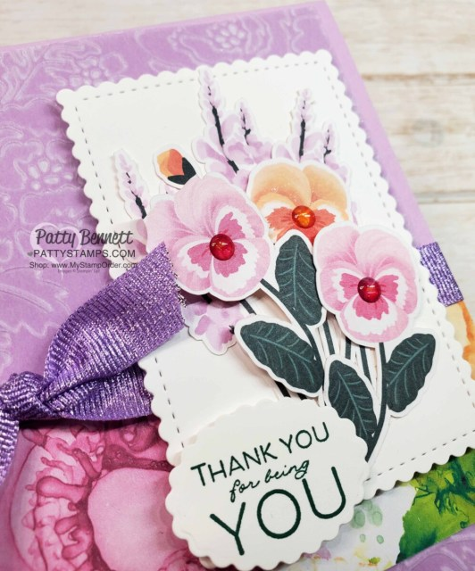 Pansy Petals designer paper from Stampin' Up! with Pretty Flowers embossing folder and Fresh Freesia Shimmer Vellum card idea. www.PattyStamps.com