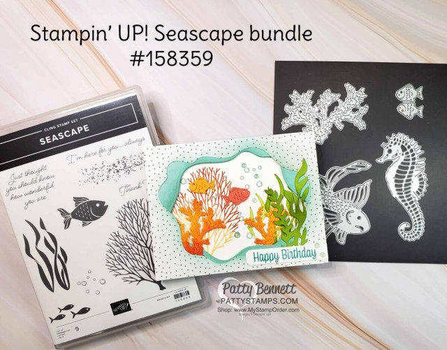Use the Layering Diorama dies to add fun wavy layers to the Seascape Bundle card. www.pattystamps.com