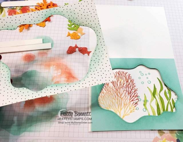 Use Stampin' UP! Layering Diorama dies to add fun wavy layers to the Seascape Bundle card. www.pattystamps.com