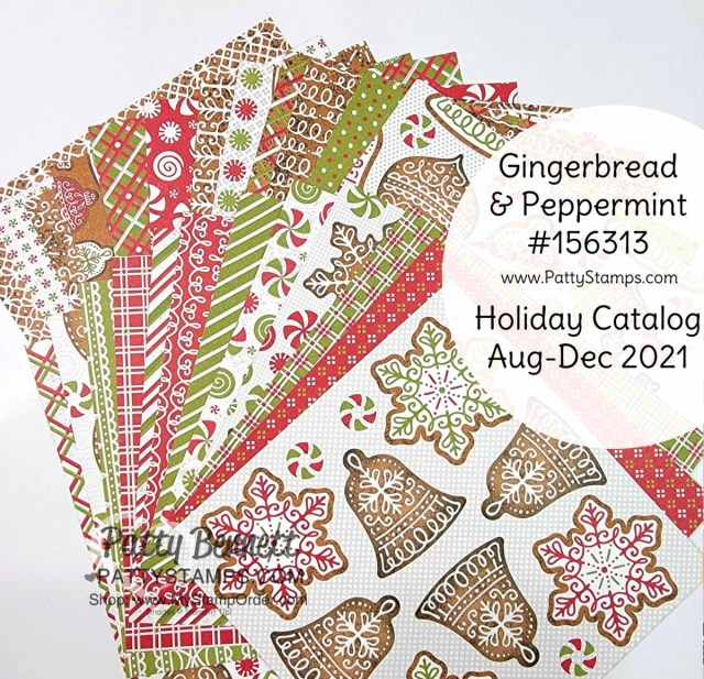 Stampin' Up! Gingerbread and Peppermint suite of Christmas crafting supplies including 6x6 designer series paper stack.