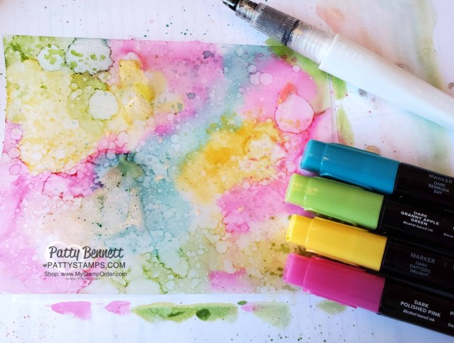 Alcohol ink background with vellum and Stampin' Blends markers by Patty Bennett www.pattystamps.com