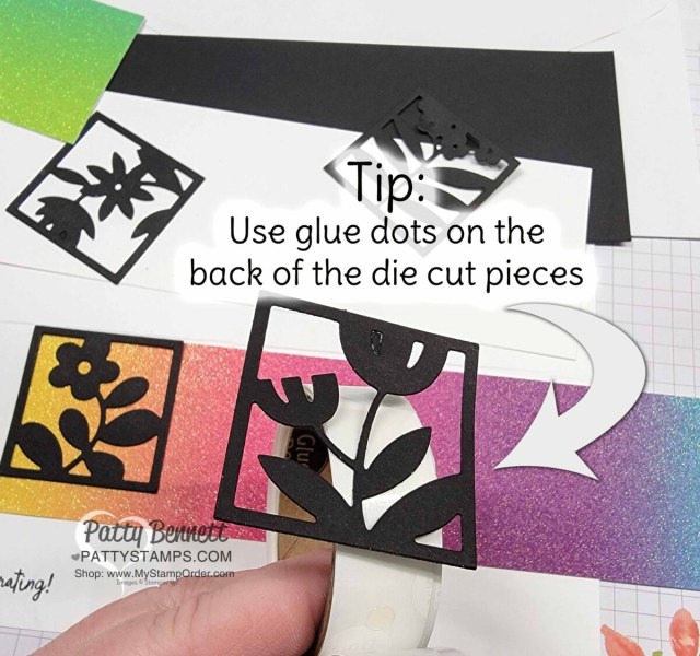 Stampin' Up! Floral Squares dies in black, with rainbow glimmer paper.
