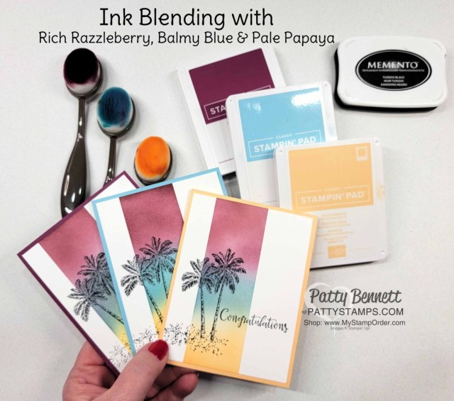 Stampin' Up! Blending Brushes Ink Blending Tips and the Timeless Tropical stamp set - from Patty Bennett