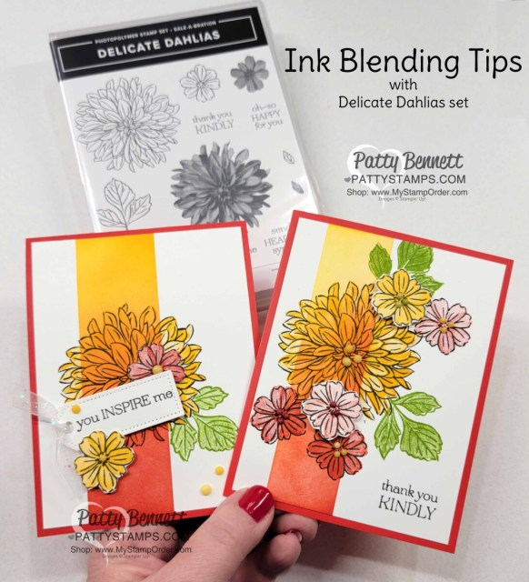 Ink Blending tips with Stampin' Up! Blending Brushes featuring Delicate Dahlias Sale-a-Bration stamp set. Video tutorial by Patty Bennett