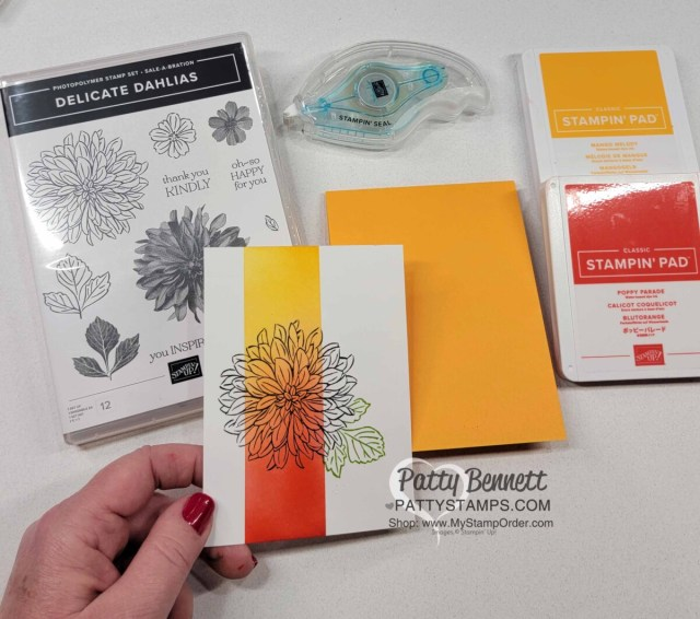 Papercrafting Supplies for Easy Card Idea and Ink Blending tips with Stampin' Up! Blending Brushes featuring Delicate Dahlias Sale-a-Bration stamp set. Video tutorial by Patty Bennett