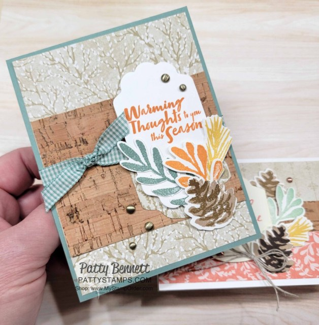 Stampin' Up! Christmas Season stamp set and Harvest Meadow designer paper and cork paper card ideas - turn Christmas into Fall! by Patty Bennett www.PattyStamps.com