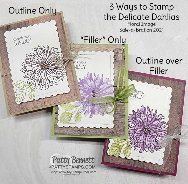 3 Ways to Stamp the flower from the Sale-a-Bration Delicate Dahlias stamp set - card ideas from Patty Bennett