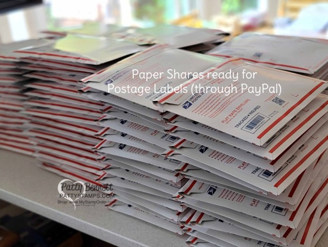 How to do a Paper Share, step 7:  package all of the Stampin' UP! Designer Paper into Priority envelopes and print postage labels through PayPal