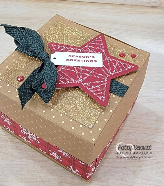 Scalloped Kraft Treat Box from Stampin' Up! decorated with the Tidings & Trimmings bundle and Gold paper. Peaceful Prints Sale-a-Bration paper accents!